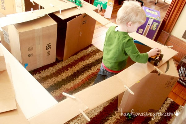 Bridges made with the box flaps! Cool activity for preschoolers