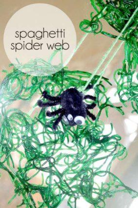 Spaghetti spider web craft for kids to make around Halloween