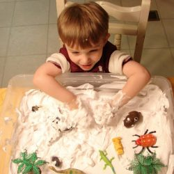 Shaving cream is perfect for snow play, from Childhood Beckons