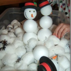 Our Cup of Tea shares a fun snowman building sensory tub idea