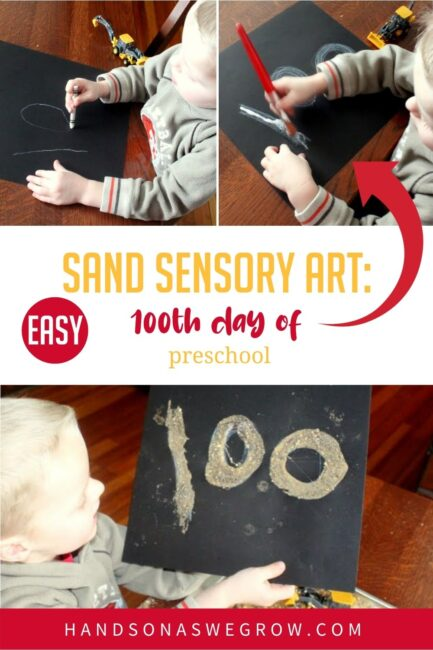 Take sand sensory play to a new level and create a number 100 art project or any other picture you want with your toddler or preschoolers!