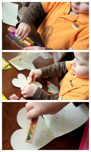 Make easy Valentine's Day stamped cards with your children