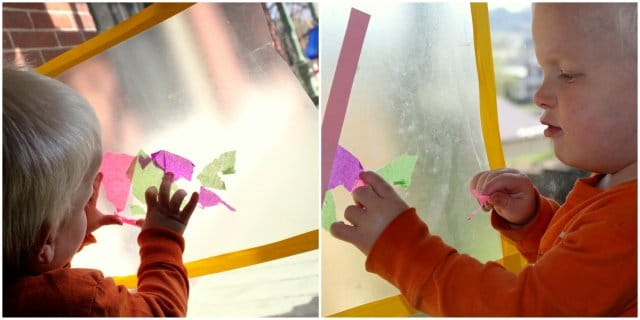 Your tissue paper cross doubles as a pretty Easter-themed sun catcher!