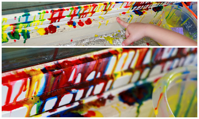 This thinner homemade window paint would be great for drip painting too