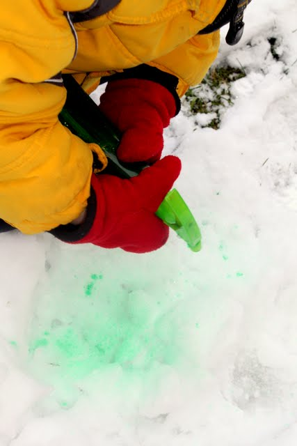 Head outside for a fun coloring snow activity with your kids!