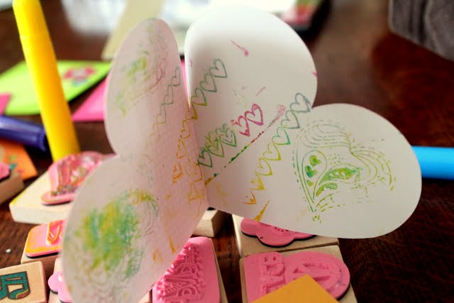 Make Valentine's Day stamped cards with your children