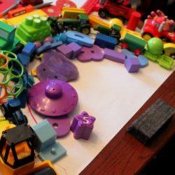 A rainbow of toys!