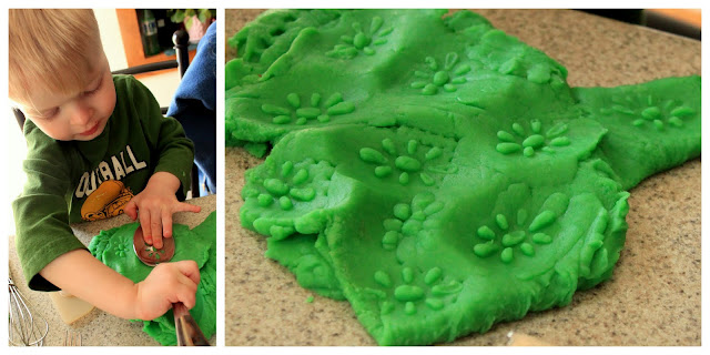 how to make homemade playdough with the kids plus making tracks in it