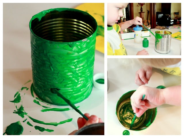 Paint the cans with your preschooler to make the tin can drums together