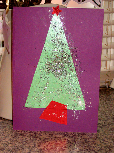 child made christmas cards