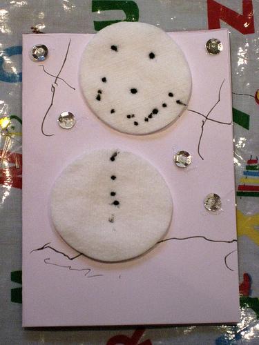 child made christmas cards