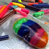 melted crayons on rocks