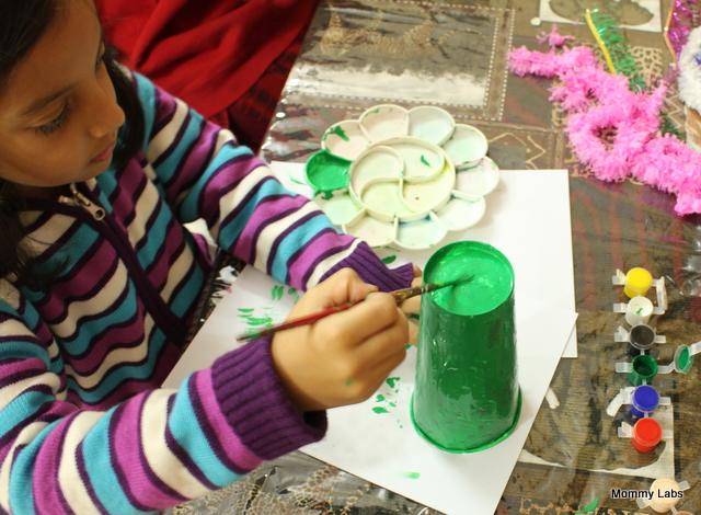 upcycled paper christmas tree kid art