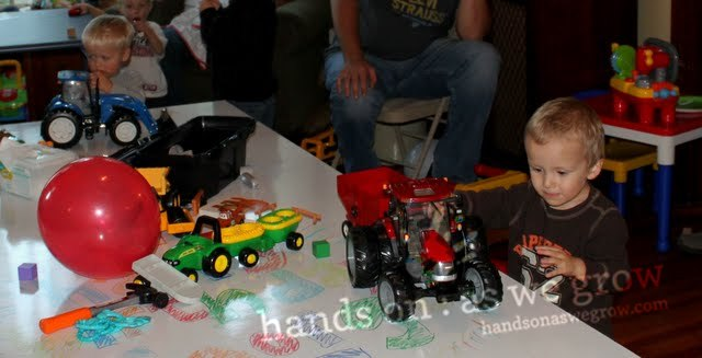 boys and tractors at the party