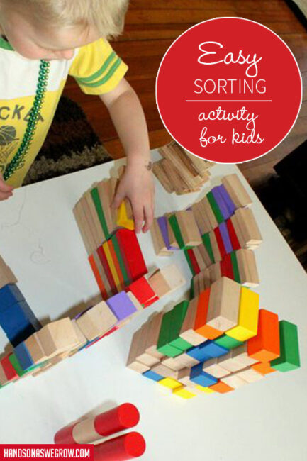 Sorting blocks by shape. Activity for toddlers.