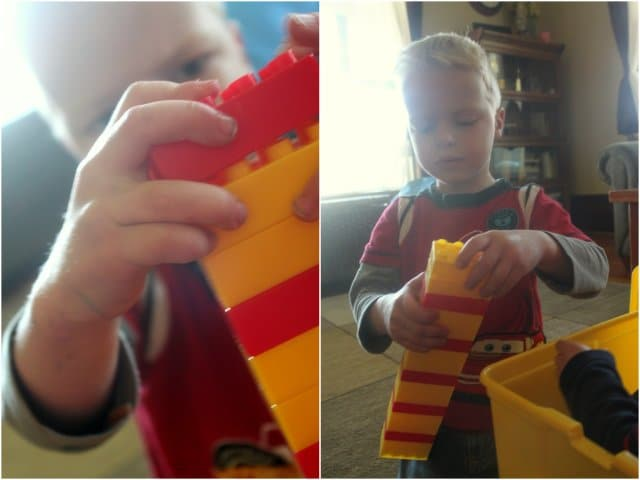 Challenge your kids to create their own patterns with Duplo blocks!