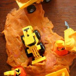 play dough construction site sensory activity for kids