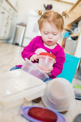 Sort through the Tupperware and match lids. Great fine motor strengthening, and matching activity!