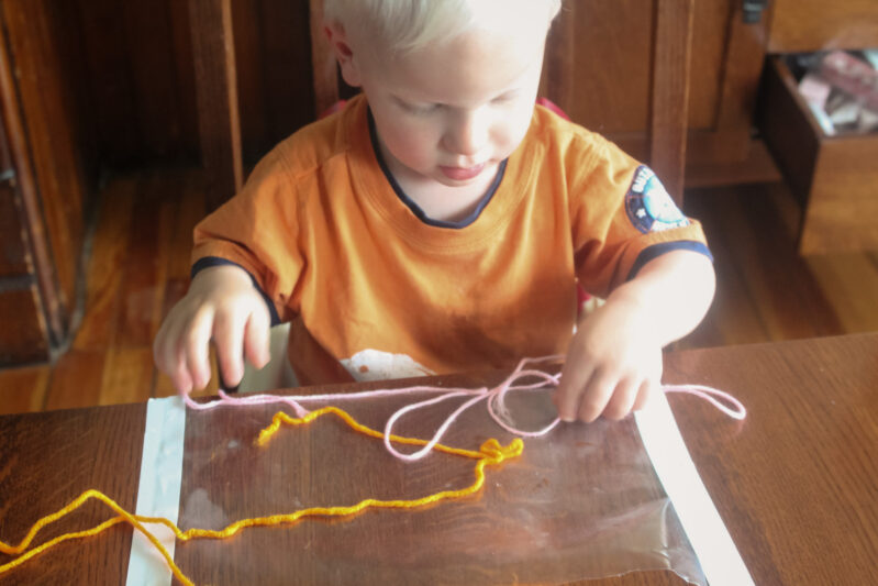 keeping a toddler busy while crafting