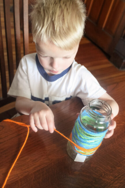 wrapping a vase to make for Mother's Day as a homemade gift