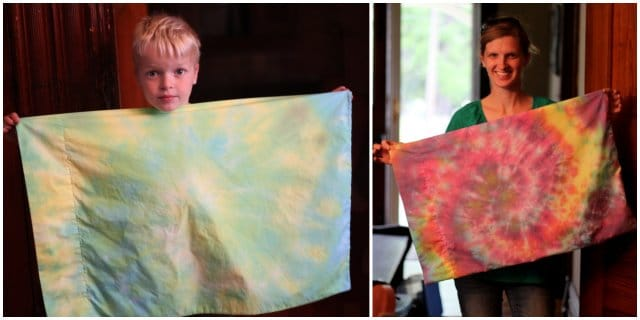 We loved making easy tie-dyed pillowcases to use as gift wrap!