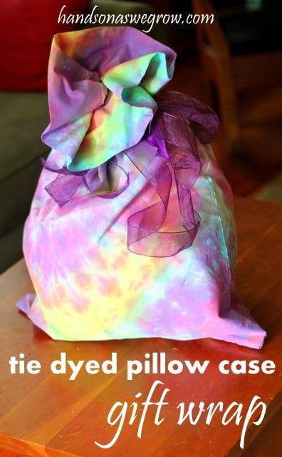 Easy tie-dye pillowcases make fun gift wrap