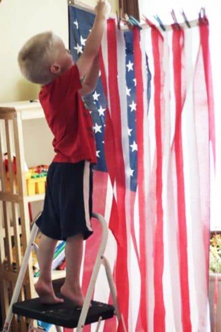 DIY a crepe paper American flag for a fun hands-on learning project!