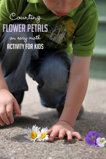 Counting flower petals is a great spring math activity to get your kids outside and active!