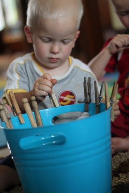 Simple activities are often the best! What a great way to practice fine motor skills for toddlers.