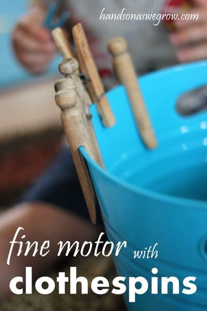 This is a super simple clothespin activity for toddlers to explore and strengthen their fine motor skills.