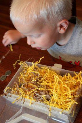 Treasure box sensory bin for kids