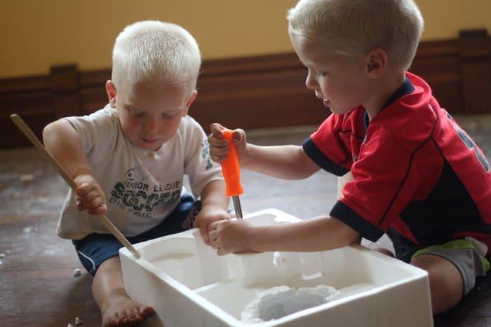 Destructing Styrofoam Busy Play
