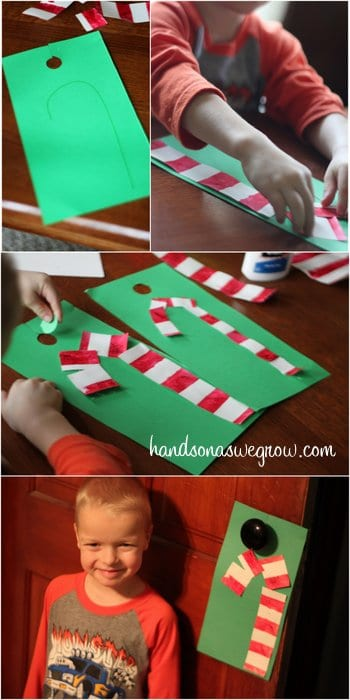 Making Candy Canes from Tape Resist Painting