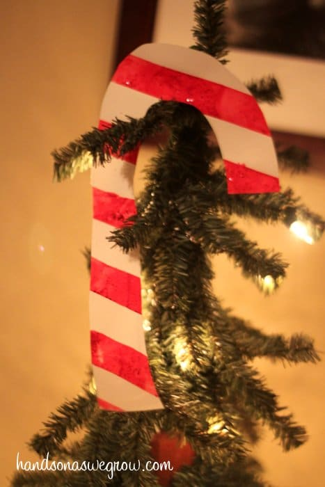 A Candy Cane Decoration from Tape Resist Painting