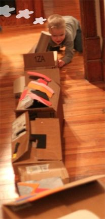 Make a train with cardboard boxes.