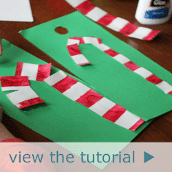 Tape Resist Candy Cane Decorations