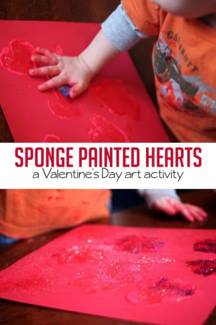 Sponge art hearts are a fun Valentine's Day art activity