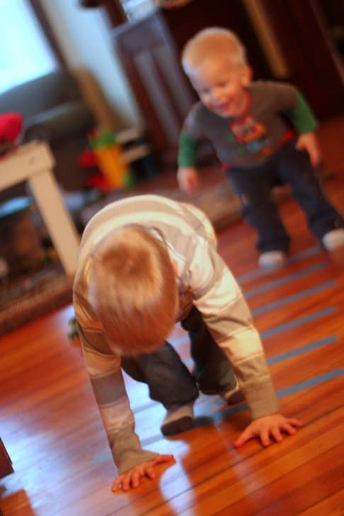 How do you burn energy when you're stuck inside with active kids? We use tape-based games!