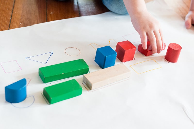 A super simple block learning activity for shapes and colors -- so easy to set up!