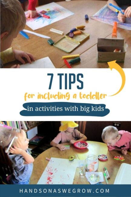 How do you keep toddlers busy when doing activities with big kids? These 7 helpful tips will make doing activities all together much simpler!