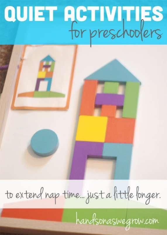 Shh -- quiet time activities for preschoolers to do.