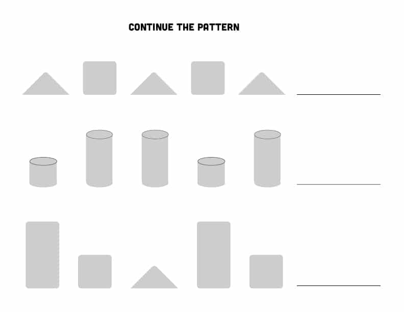Continue the pattern of blocks Math Activity