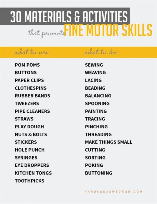 30 fine motor materials and activities