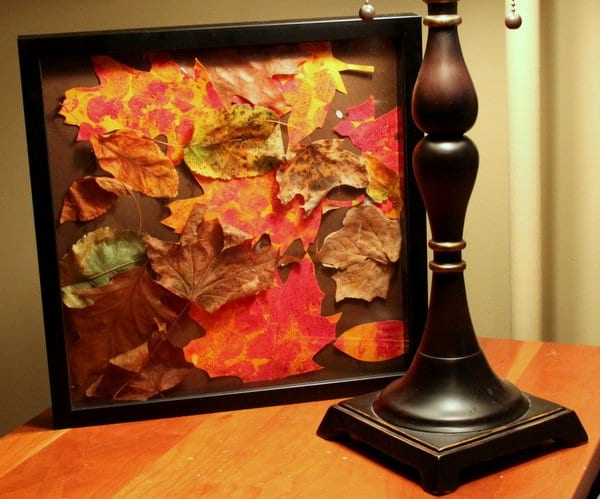 Fall Leaf Collage made with Bubble Wrap Prints
