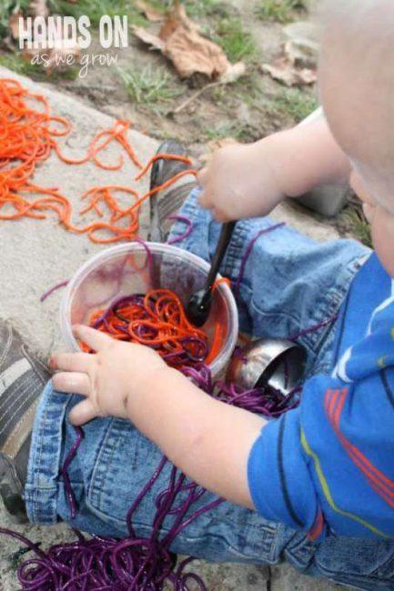 Exploring colored spaghetti slime