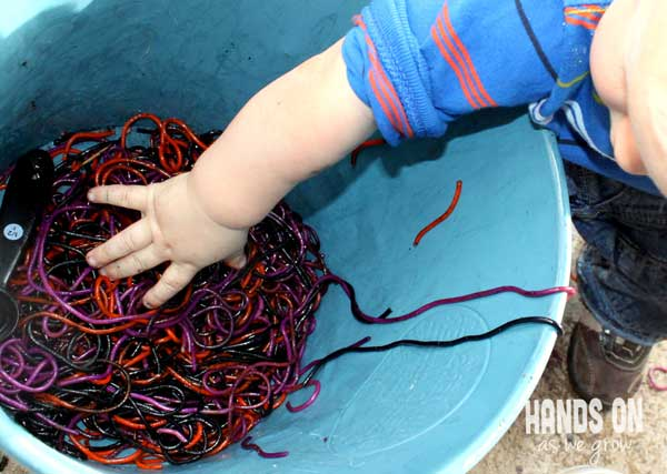 A cauldron for a spaghetti slime sensory activity for toddlers