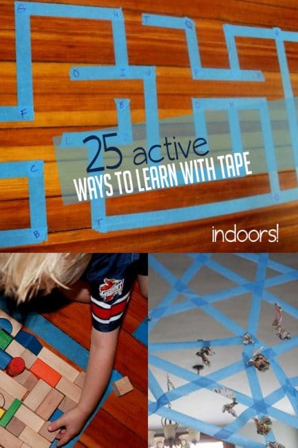 Get active with tape! We love these 15 ways to learn indoors that are perfect for kids of all ages!