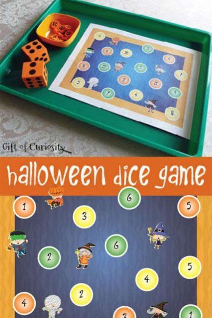 Halloween dice game for preschoolers - free printable!