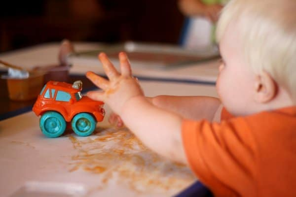 Painting with trucks and baby food