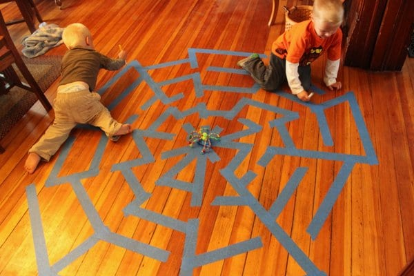 A giant spider web maze for kids for Halloween